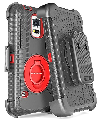 BENTOBEN Galaxy S5 Case, Samsung Galaxy S5 Case, Hybrid Soft Silicone Hard Protective Case Rotating Kickstand Belt Clip Holster Cover Case for Samsung Galaxy S5 S V I9600 GS5 All Carriers, Black/Red