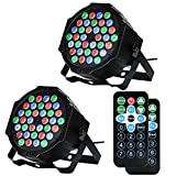 LUNSY DJ Par Lights, 36LEDs Stage Lighting Par Can Controlled by Remoter and DMX Control - 2 Pack