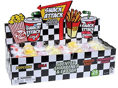 Raymond Geddes Snack Attack Scented Pencil Sharpener and Eraser, 24 Pack (68309)