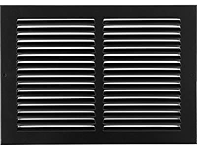 """10""""w X 6""""h Steel Return Air Grilles - Sidewall and Ceiling - HVAC Duct Cover - Black [Outer Dimensions: 11.75""""w X 7.75""""h]"""