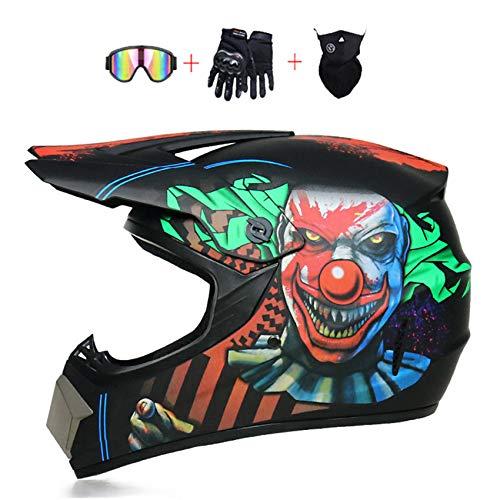 STARMOON Motocross Helmet with Goggles Neck Gaiter Gloves, Dirt Bike Helmet for Youth Adult, Men Women, DOT Approved ATV Off Road Helmet Motorcycle Helmet MX MTB BMX Downhill Helmet S-XL,Clown,M