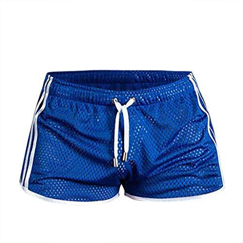 Xmiral Badehose Herren Transparent Mesh Schnelltrocknend Mini Boxershorts Atmungsaktiv Beach Schwimmshorts mit Kordel(Blau,M)