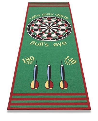BigDean Dartteppich Bulls-Eye mit offiziellem Spielabstand 79x237cm - Dartmatte rutschfest mit Abwurf-Markierung - Perfekt zum Dart-Turnier Spielen