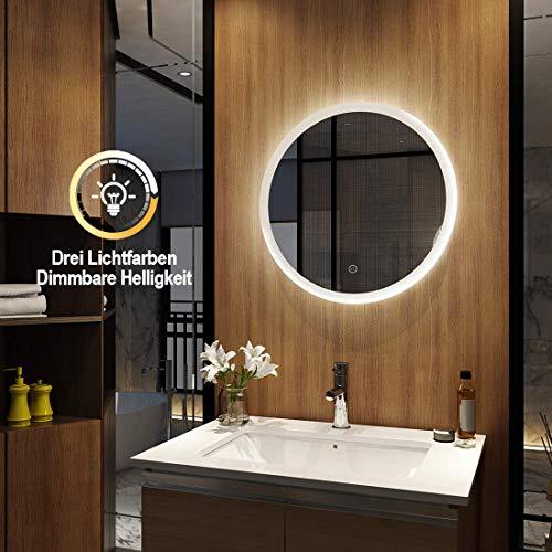 EMKE wandspiegel badkamerspiegel LED badkamerspiegel rond met verlichting 60cm 3 lichtkleuren dimbaar warm wit/neutraal/koud wit 3000K-6300K energieklasse A++