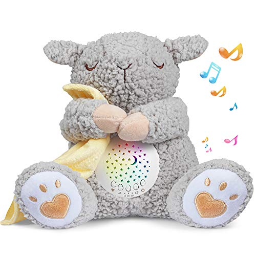 BEREST Baby White Noise Machine, Mom's Heartbeat Lullabies & Shusher Dreamy Sheep Sleep Soother, Nursery Decor Night Light Projector, Toddler Crib Sleeping Aid, Baby Shower Gifts Portable SheepToy