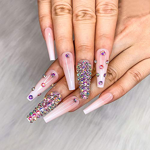 Artquee 24pcs French Nude White Ballerina Diamond Long Glossy Coffin Flash Fake Nails Press on Nail False Tips Manicure for Women and Girls