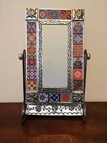 Fine Crafts Imports Medium Silver Gerona Tile Talavera Tin Mirror