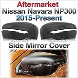 TUNEZ® Cubierta de espejo lateral para Navara NP300 D23 STX ST ST-X SL Visia Acenta Acenta+ N-Connecta Tekna año 2015-2020 mate negro protector de visión trasera indicador de señal de giro
