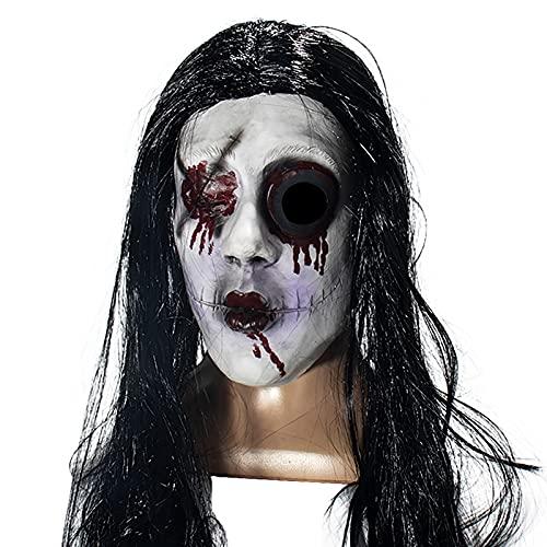 Halloween Horror r Maske Lange Haare Alte Hexe Gruselige Masken Halloween Resident Evil Monster Maske, Gruselige Kostüme Party Gummi Latex Maske für Halloween.