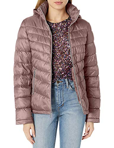 Kenneth Cole New York Women's Ruched Quilted Hooded Packable, Dusty Blush, Medium