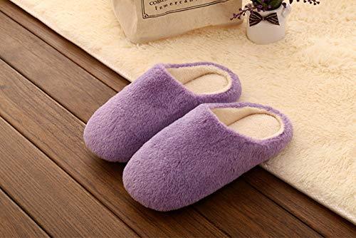 HIUGHJ Zapatillas de Invierno para Mujer Zapatillas de Felpa Color sólido Zapatos de Interior para el hogar Amantes Piso Zapatillas Suaves para Hombres Zapatos, Lavanda, 12