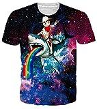 RAISEVERN Unisex 3D Print Casual Mens Short Sleeve Universe Pirate Cat Rainbow T-Shirts Multicoloured