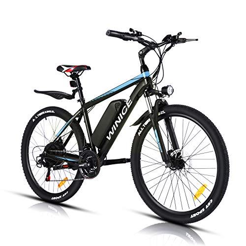 """VIVI Elektrofahrrad Herren 26\"""" Mountainbike mit 350W Motor,Abnehmbare 36V/10.4Ah Batterie /21-Gang-Getriebe/Höchstgeschwindigkeit 32km/h/Kilometerstand Aufladen Bis zu 50km (Blau, 26 Zoll)"""