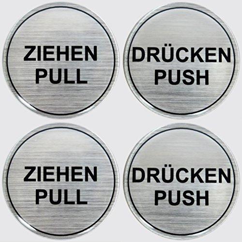 Stickers 3D set van 2 900020-D2 instructieplaatjes geborsteld aluminium trekker pull/druk push - totaal 4 stickers uitstekende bescherming tegen weersinvloeden, geen goedkope foliestickers