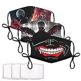 3 PCS Tokyo Ghoul face mask Reusable Crazy face mask Luffy face mask One Piece Anime face mask Funny face mask