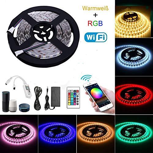 Wifi Led Strip RGBWW Set Funziona con Alexa, Google Home, IFTTT, Wifi Wireless Smart Phone Controlled (RGB + Warm White) Kit completo per strisce di luce LED 4 in 1