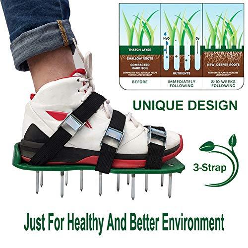 Spike-schoenen met gazonbeluchter - voor effectief beluchten van gazonbodem - Wordt geleverd met 3 verstelbare riemen met metalen gespen - universele maat die geschikt is voor iedereen - voor een groenere en gezondere werf (metalen gesp)