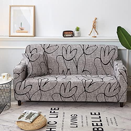 WXQY Funda de sofá elástica Estampada, sillón reclinable de protección Completa, Funda de sofá Antideslizante de Estilo Floral nórdico, Funda de sofá A11, 3 plazas
