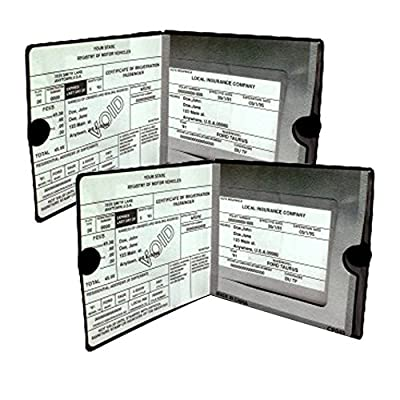 ESSENTIAL Car Auto Insurance Registration BLACK Document Wallet Holders 2 Pack - [BUNDLE, 2pcs] - Automobile, Motorcycle, Truck, Trailer Vinyl ID Holder & Visor Storage - Strong Closure On Each - Necessary in Every Vehicle - 2 Pack Set from Sterling