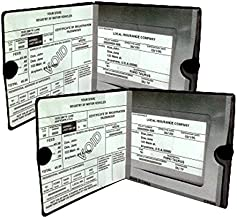ESSENTIAL Car Auto Insurance Registration BLACK Document Wallet Holders 2 Pack - [BUNDLE, 2pcs] - Automobile, Motorcycle, Truck, Trailer Vinyl ID Holder & Visor Storage - Strong Closure On Each - Necessary in Every Vehicle - 2 Pack Set