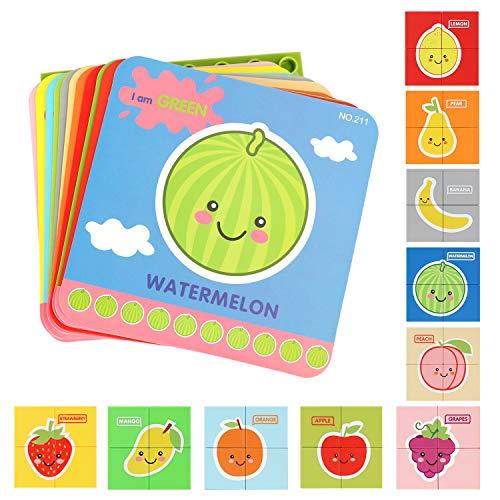 Bammax Kleinkind Puzzles, Jigsaw Puzzle, Steckspielzeug mit Puzzle Board, Pädagogisches Vorschule Lernspielzeug mit Obst Früchte Buchstaben, Bunte Kunststoff Puzzle für Kinder