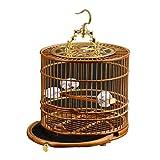 Bird Houses Jaula para pájaros pequeña Jaula para pájaros Redonda Jaula para pájaros Hecha a Mano Jaula para pájaros de bambú Antigua con Base de cajón Estructura de Espiga y Espiga