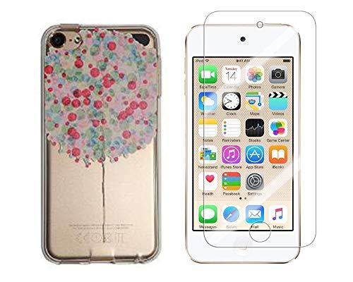 Novago compatibel met iPod Touch 7, Touch 6, Touch 5, gel-beschermhoes, bedrukt, robuust, resistent, 1 gehard glas, transparant, robuust (ballon)