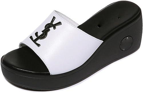 WeiLuShop Sandales d'été à bout ouvert pour femmes imperméables anti-dérapant pantoufles de douche résistant à l'usure (Couleur   Blanc, Taille   5uk 37.5)