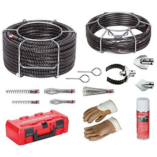 ROTHENBERGER Spiralen- und Werkzeug Set zur Rohrreinigung: 2x Rohrreinigungsspirale für Rohrreinigungsmaschine, 16-20mm