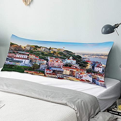 Funda de Almohada para el Cuerpo,Castillo de San Jorge en Lisboa, Portugal.,Funda de Almohada Larga y Transpirable con Cremallera para sofá de Dormitorio,sofá de 20'x54'