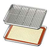 Baking Sheet with Rack & Mat Set of 4 HKJ Chef Stainless Steel Cookie Sheet Baking Pan Tray with...
