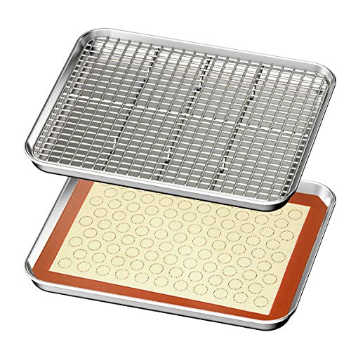 Baking Sheet with Rack & Mat Set of 4 HKJ Chef Stainless Steel Cookie Sheet Baking Pan Tray with Cooling Rack & Silicone Mat, Size 16 x 10 x 1 Inch, Non Toxic & Heavy Duty & Easy Clean