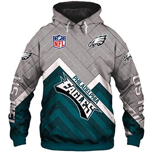 NFL Felpa con Cappuccio da Football Americano da Unisex - Felpa Manica Lunga con Logo in Jersey Maglione Casual con Stampa Digitale 3D Felpa da Esterno,Eagles,L