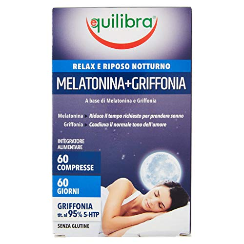 Equilibra Melatonina + Griffonia, Relax e Riposo Notturno, 60 Compresse