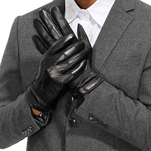 Isilila Men's Luxury Italian Sheepskin Leather-Warm Touch Screen Dress Driving Gloves With Cashmere Wool Lined (Black, L)