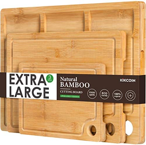 Bamboo Cutting Board for Kitchen Set of 3 Kitchen Chopping Board with 3 Built In Compartments product image