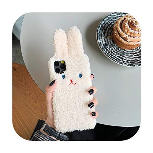 Funda de silicona suave para iPhone 11Pro, diseño de orejas de conejo en 3D, color rosa
