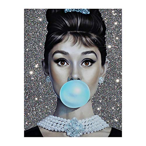 Audrey Hepburn Prints Blue Bubble Gum With Jewelry Wall Art Posters 24x36 Photo Paper Material