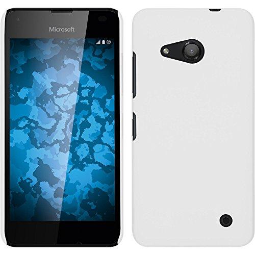 PhoneNatic Hülle kompatibel mit Microsoft Lumia 550 - Hülle weiß gummiert Hard-case + 2 Schutzfolien