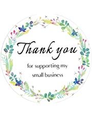 500 Pcs 1.5 inch Thank You Stickers Round Kraft Roll Thank You for Supporting My Small Business Stickers