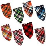 SUSSURRO 8 Stück Hund Halstuch, Einstellbare Kariertes Dreieckstuch Bandana Haustier Hundehalstuch Kopftücher für kleine oder mittelgroße Katzen und Hunde Haustiere