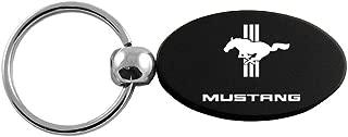 Au-Tomotive Gold, INC. Ford Mustang Tri-bar Logo Black Aluminum Oval Key Chain