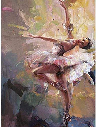 MSSDEZB Kits De Pintura Por Números Para Adultos Y Niños Bailarina De Ballet Diy Kits De Regalo De Pintura Al Óleo Digital Decoración De Hogar Preimpresa-40X50cm(Con Marco)