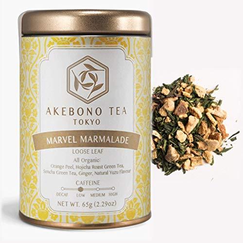AKEBONO TEA (アケボノティー) マーベル マーマレード 65g 缶 茶葉 オーガニック 有機 低カフェイン 柚子 ゆず 日本茶 緑茶 国産 煎茶 ほうじ茶 ジンジャー ハーブティー 紅茶 ブランド 高級 おしゃれ かわいい ギフト