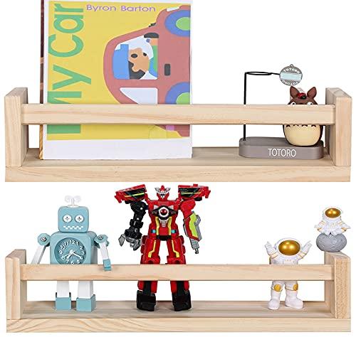 Jorikchuo Nursery Book Shelves, Set of 2 Wood Floating Book Shelves for Kids Room, Kitchen Spice...