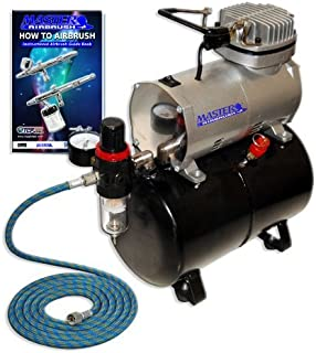 Master Airbrush NEW Quiet TANK COMPRESSOR-(FREE) AIR HOSE and Now a (FREE) How to Airbrush Training Book to Get You Started, Published Exclusively By TCP Global.