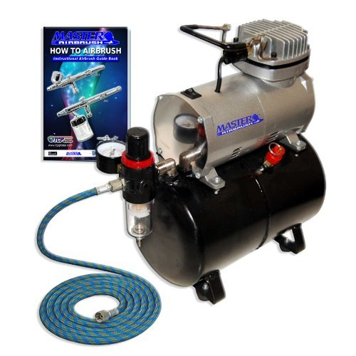 Master Airbrush 1/5 HP Compressor with Air Storage Tank Kit Model TC-20T - Professional Single-Piston with Pressure Regulator, Water Trap Filter, Hose - How To Airbrush Guide - Hobby, Cake, Tattoo Art