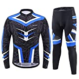 BALEAF Men's Cycling Jersey Sets Long Sleeve Clothing Bike Outfit 4D Padded Pants Pocket MTB Riding Shirt Blue Size L