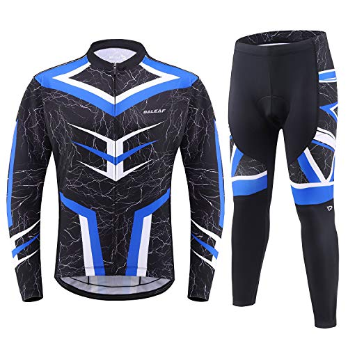 BALEAF Men's Cycling Clothing Sets Jersey Long Sleeve Shirt 4D Padded Bike Pants Pocket MTB Riding Outfit Blue Size L