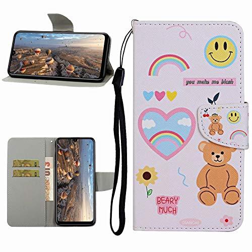 Miagon Hülle für Xiaomi Redmi Note 9,Handyhülle PU Leder Brieftasche Schutz Flip Case Wallet Cover Klapphüllen Tasche Etui mit Kartenfächern Stand,Bär